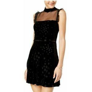Teeze Me Black Velvet Stars Dress Sheer Detail 7/8